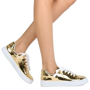 QUPID METALLIC LACE UP SNEAKERS